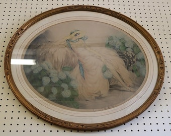 Beautiful Louis Icart Reclining Beauty Oval Frame Great Condition Pencil Signed!