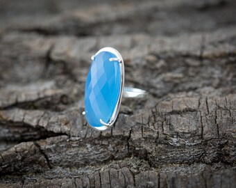 Sterling Silver Ring with Stunning Elongated Blue Chalcedony Gemstone - Handmade ring