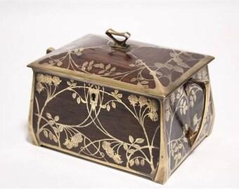 Art Nouveau rosewood & brass-inlaid trinket box of rectangular shape circa 1910