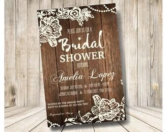 Rustic Wood and Crochet Bridal Shower Invitation