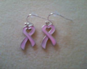 Pink Silver Enamel Ribbon Earrings