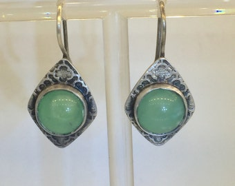 Wispan earrings with Chrysoprase