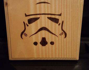 Stormtrooper Woodburned Plaque