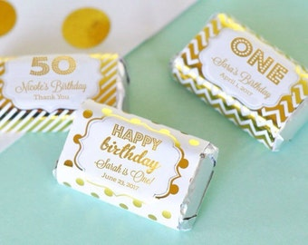 Personalized BIRTHDAY mini candy bar wrappers-set of 24- birthday favors, birthday party mini candy bar wrappers