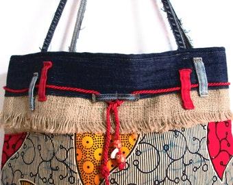 burlap hand bag