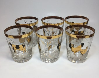 Set Of 6 Totally Awesome Vintage Drinking Glasses Decorated With Farm Animals And A Map Of New England in 23 Karat Gold / Farmhouse Decor