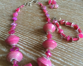 Paper Mache' Gemstone Necklace, earrings & braclet set
