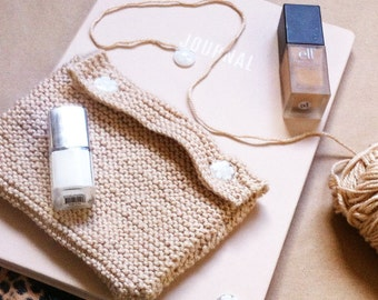 Handmade knitted pouch in 'Honey Biscuit Brown'