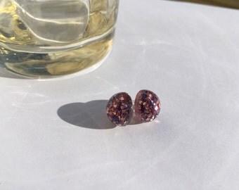 Purple & Pink Glitter Stud Earrings 12mm