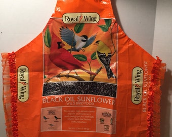 Orange bird feed apron, small child