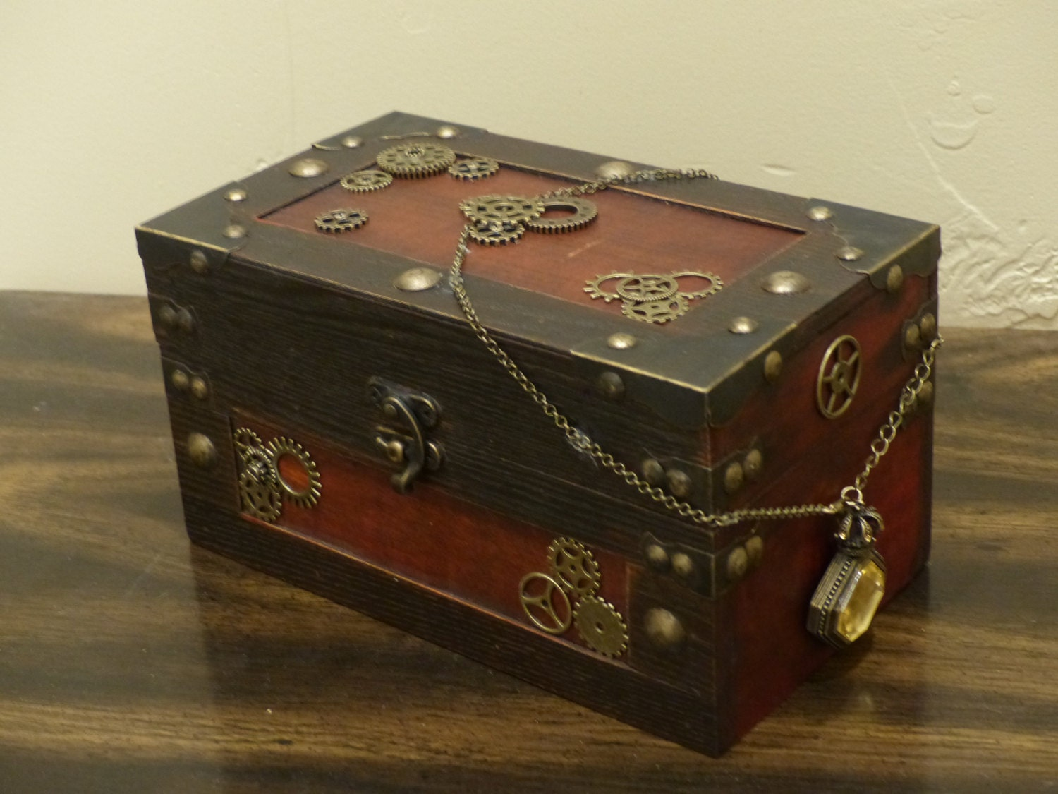 Home Decor Steampunk Jewelry Box Treasure Chest With Yellow