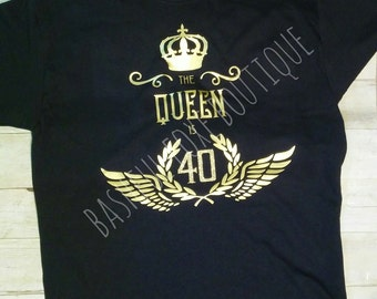 The queen is *custom age* birthday shirt