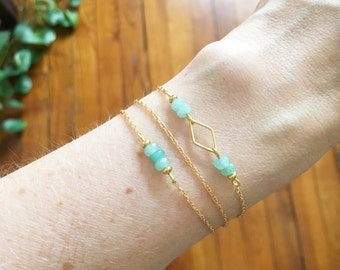 """Bracelet three ranks """"Venice"""" - Jade Green - Gold Filled 14 carats Gold plated"""