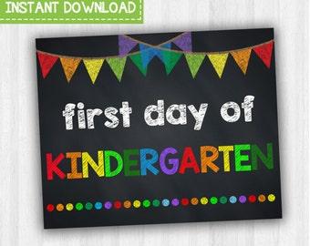 First Day Of Kindergarten | Kindergarten School Signs, Back To School, 1st Day Of School Signs, Printable Photo Prop, Chalkboard Signs