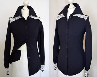 SALE Navy and white shirt, lace blouse Size UK 10, 12, 14 / US 6, 8, 10