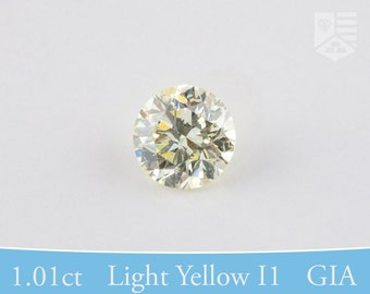 Brilliant Round, GIA Certified Diamond, Post Consumer, Fancy Light Yellow I1, 1.01 ct