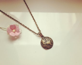 Necklace earth globe, travel, vacation, vintage, wanderlust
