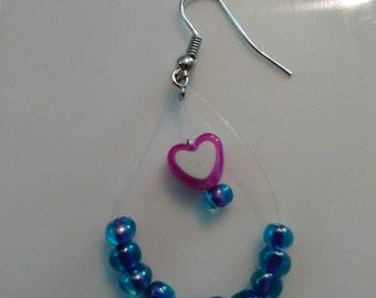 Purple Dangle Heart Earrings
