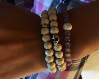 Wooden and skull beaded bracelet