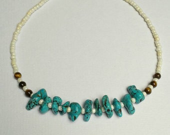 Turquoise and Tiger's Eye beaded necklace