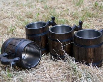 SALE! Set Of Wooden Beer Mugs, 4 Wooden Mug, Beer Mug, Gift For Him, Set Of Mugs, Wooden Mug With Metal Inside, Groomsman Gift, Groosman Mug