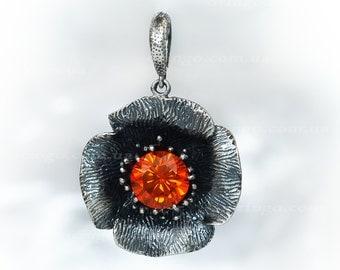 POPPY flower pendant Sterling Silver 925