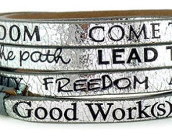 Leather Silver Wrap Around Bracelet