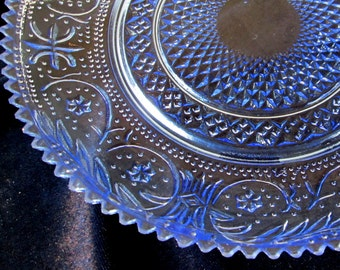 1 set of 6 Blue Cut Glass Sawtooth Salad Plates