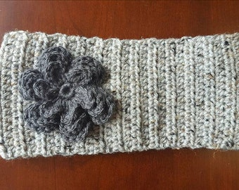 Crochet Gray Multi headband/earwarmer with Dark Gray Flower