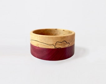 Spalted Maple & Purple Heart Bangle (M)