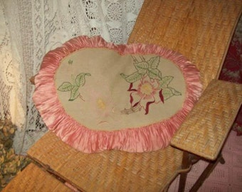 A large antique art deco pillow, very shabby. roaring twenties; Pink; flowers,