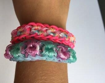 Rainbow loom sparkle starburst bracelets pastel colors