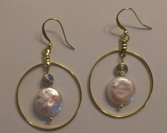 Coin Pearl Gold Circle Earrings