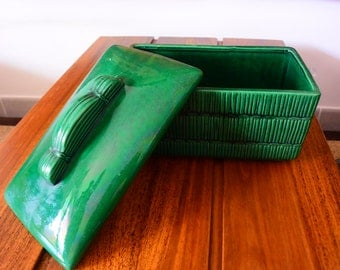 One Faience St Clement B letlle candy box green biscuit decoration bamboo