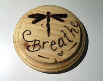 Wood Burned Wall Plaque - Dragonfly
