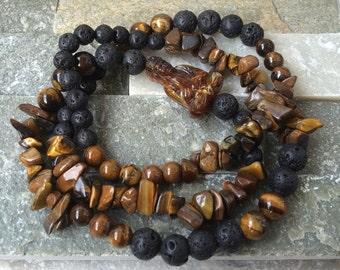 Buddha bracelet Tigers eye beads of lava men bracelet courage strength