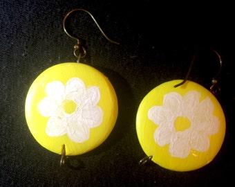 Hand Painted Daisy Earrings