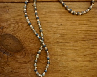 Ladies ceramic earth beaded necklace (with natural wood beads)