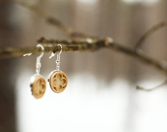 Wooden  earrings Gothic Natural wood Hornbeam