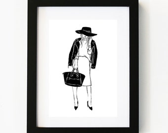 Tres Chic Mademoiselle, Illustration Art Print, Room decor, Gifts For Her, Wall Art, Poster