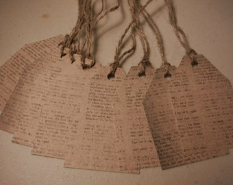 Old Style type print paper tags with twine (8 total )