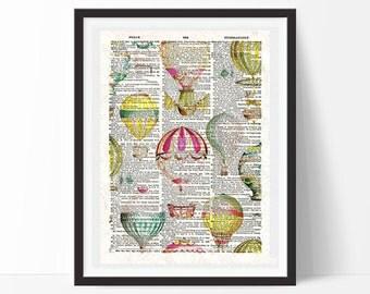 Vintage balloons -neo retro, Dictionary paper, elegant-