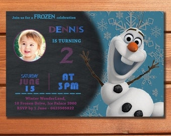 Disney FROZEN INVITATION for BOYS Olaf Personalized Custom Birthday Party Invites Party Supplies Printable Baby First Birthday Party Invite
