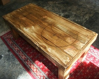 Coffee Table with Sun and Moon Pyrograph design