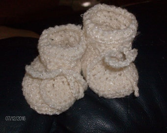 Cream Camouflage Crocheted Baby Booties