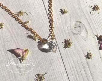 Transparent crystal necklace, precious stone, natural stone, 14k yellow ecogold, crystal pendant, romantic, wedding gift, bridesmaid gift