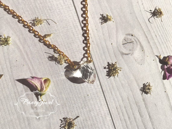 Transparent crystal necklace, precious stone, natural stone, 14k yellow ecogold, crystal pendant, romantic, wedding gift, bridesmaid gift