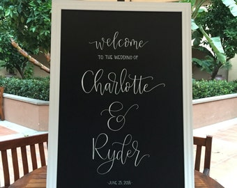 "24""x36"" HAND-LETTERED Wedding Welcome Chalkboard Sign"