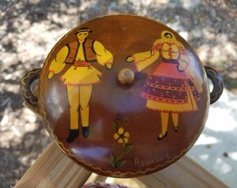 Vintage hand painted wooden round container by Roumanie