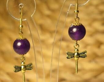 Hand made purple fly earrings